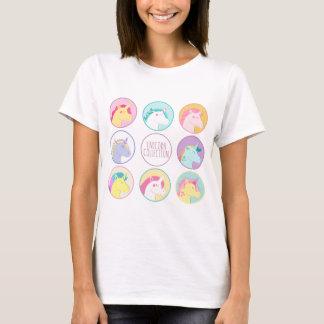 Niedliche bunte Unicornsammlungsknöpfe T-Shirt
