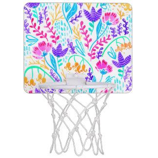 Niedliche bunte Watercolor-Blumen Mini Basketball Ring