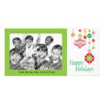 Niedliche bunte Weihnachtsverzierungen Photokarten