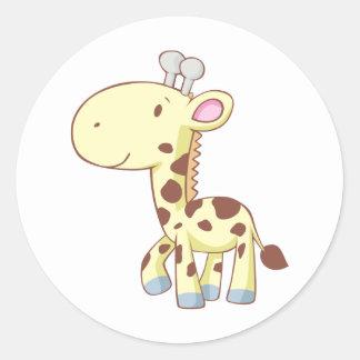 Niedliche Cartoon-Baby-Giraffen-Shirts Runder Sticker