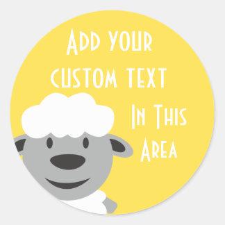 Niedliche Cartoon-Bauernhof-Schafe - Gelb und Grau Runder Aufkleber