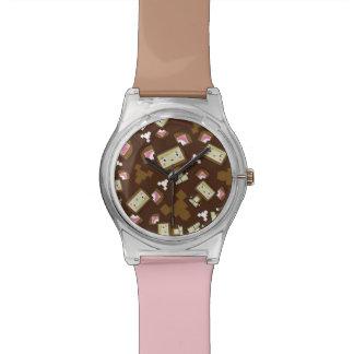 Niedliche Cartoon Blockimals Bärn-Uhr Armbanduhr