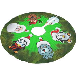 Niedliche Cartoon-Charaktere mit Polyester Weihnachtsbaumdecke