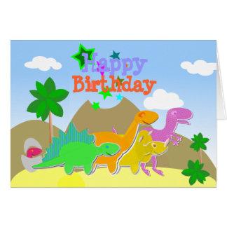 Niedliche Cartoon-Dinosaurier-alles- Gute zum Karte
