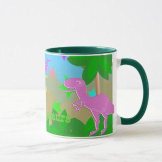 Niedliche Cartoon-Dinosaurier in der Tasse