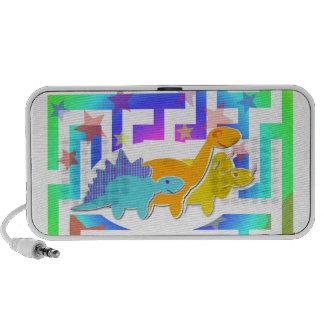 Niedliche Cartoon-Dinosaurier in einem Farblabyrin Notebook Speaker