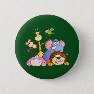 Niedliche Cartoon-Dschungel-Tiere Runder Button 5,1 Cm