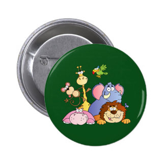Niedliche Cartoon-Dschungel-Tiere Runder Button 5,1 Cm