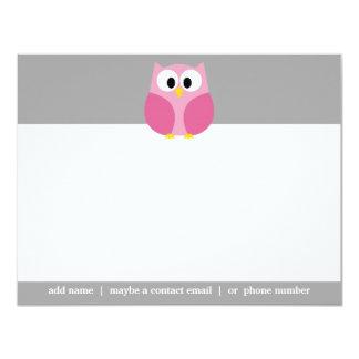 Niedliche Cartoon-Eulen-- rosa und grauer 10,8 X 14 Cm Einladungskarte