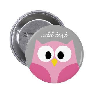 Niedliche Cartoon-Eulen-- rosa und grauer Runder Button 5,7 Cm