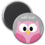 Niedliche Cartoon-Eulen-- rosa und grauer Magnete