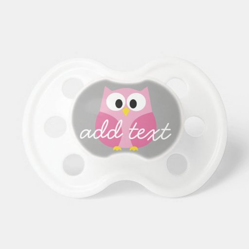 Niedliche Cartoon-Eulen-- rosa und grauer Baby Schnuller