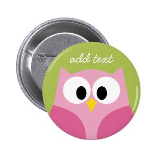 Niedliche Cartoon-Eulen-- rosa und Limones Grün Button