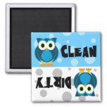 Niedliche Cartoon-Eulen-sauberer/schmutziger Spülm Quadratischer Magnet