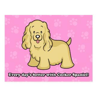 Niedliche Cartoon-Hundecockerspaniel-Postkarte Postkarte
