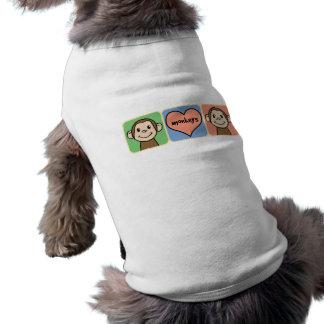 Niedliche Cartoon-Klipp-Kunst-Affen mit Herz-Liebe Shirt
