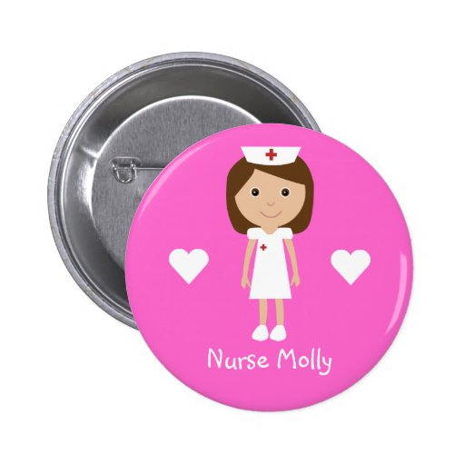Niedliche Cartoon-Krankenschwester u. Herz-persona Anstecknadelbutton