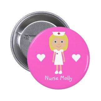Niedliche Cartoon-Krankenschwester u. Herz-persona Runder Button 5,7 Cm