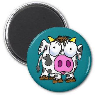 Niedliche Cartoon-Kuh Runder Magnet 5,7 Cm