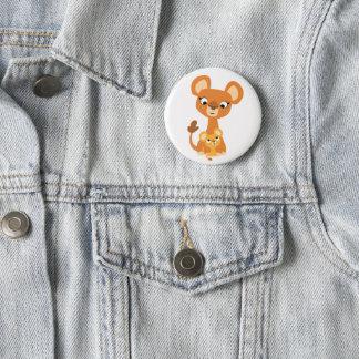 Niedliche Cartoon-Mutter-Löwin und CUB Runder Button 5,1 Cm