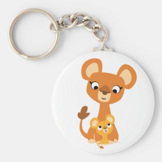Niedliche Cartoon-Mutter-Löwin und CUB Schlüsselanhänger