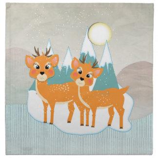 Niedliche Cartoon-Ren-Schnee-Szenen-festliches Stoffserviette