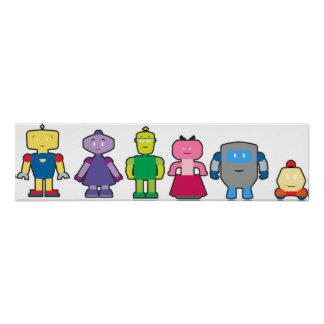 Niedliche Cartoon-Roboter Poster