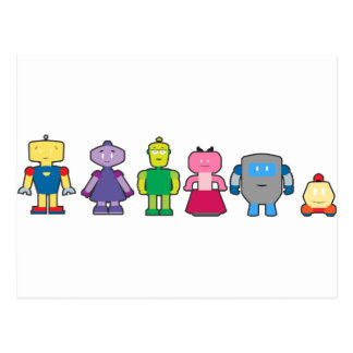 Niedliche Cartoon-Roboter Postkarten