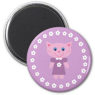 Niedliche Cartoonkatze auf einem hübschen lila Runder Magnet 5,1 Cm