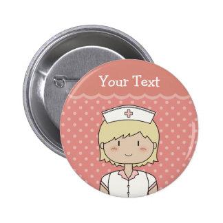 Niedliche Cartoonkrankenschwester (blond) Runder Button 5,1 Cm