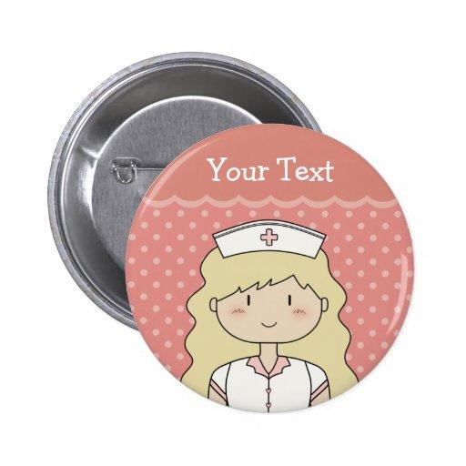 Niedliche Cartoonkrankenschwester (blond) Anstecknadelbuttons