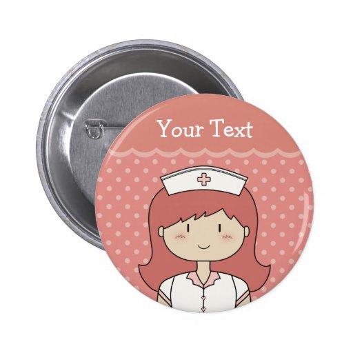 Niedliche Cartoonkrankenschwester (Redhead) Button