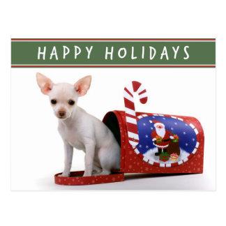 Niedliche Chihuahua-Weihnachtspostkarte Postkarte