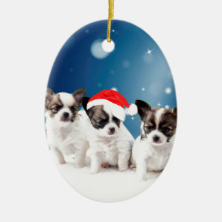 Niedliche Chihuahua-Welpen mit Keramik Ornament