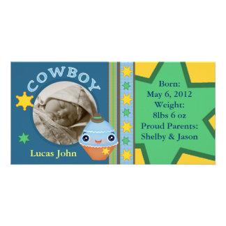 Niedliche Cowboy-Baby-Mitteilungs-Foto-Karten