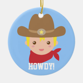 Niedliche Cowboy-Sheriff-Jungen-personalisierte Keramik Ornament