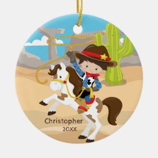 Niedliche Cowboy-zu Pferde Keramik Ornament