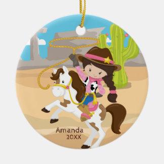 Niedliche Cowgirl-zu Pferde Keramik Ornament