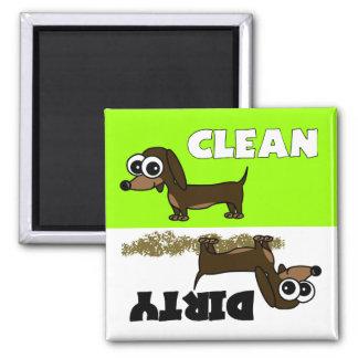 Niedliche Dackel-sauberer/schmutziger Spülmaschine Quadratischer Magnet