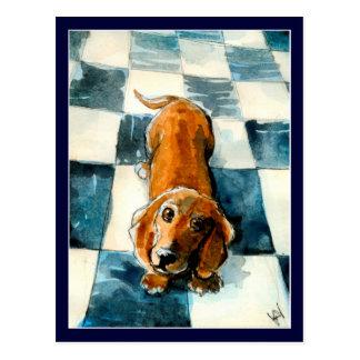 Niedliche Dackelhundepostkarte Postkarte
