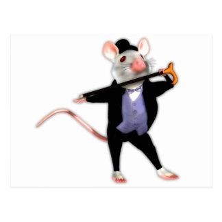 Niedliche Dapper Maus, die Tanzen-Cartoon-Maus Postkarte