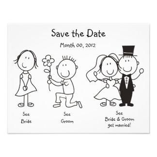 Niedliche Dick- und JaneSave the Date Karten Ankündigungskarten
