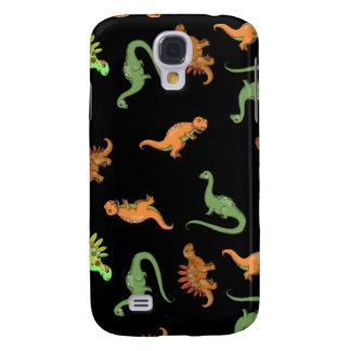 Niedliche Dinosaurier auf schwarzem Hintergrund Galaxy S4 Hülle