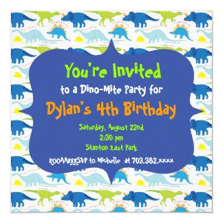 Niedliche Dinosaurier-Geburtstags-Party Quadratische 13,3 Cm Einladungskarte