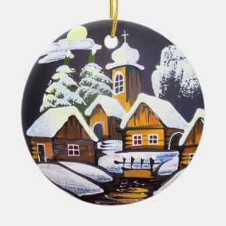Niedliche Dorf-Winter-Landschaft Rundes Keramik Ornament
