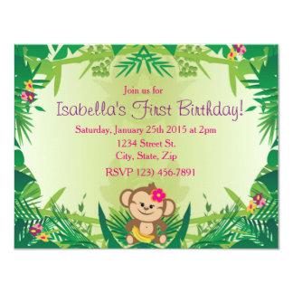Niedliche Dschungel-Affe-Feier 10,8 X 14 Cm Einladungskarte