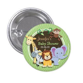 Niedliche Dschungel-Baby-Dusche; Hellgrüne Ovale Runder Button 2,5 Cm