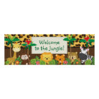 Niedliche Dschungel-Safari-Tier-Baby-Duschen-Fahne Poster