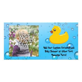 Niedliche Ducky/blaue Gummiblasen Fotokartenvorlage