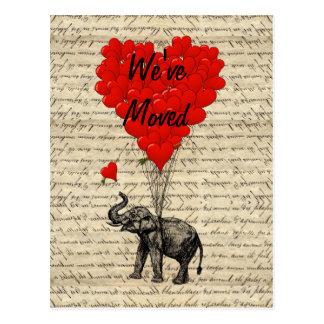 Niedliche Elefantadressenänderung Karte Postkarte